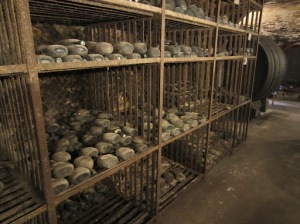 Bottles aging in the cellars of Hans Wirsching