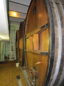 Traditional foudre barrels at Leon Beyer