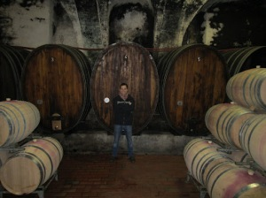 Next to some large casks in the cellars of Weingut Bercher