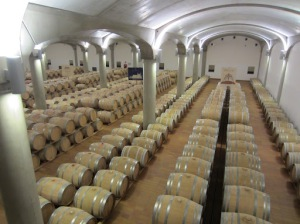 Barrels in the cellars of Donnafugata