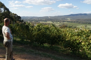 Joel Pizzini looks down on his vineyards in the King Valley
