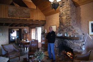 Ron Laughton next to the first fire of the year