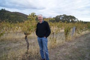 Ron in the Georgia's paddock vineyard