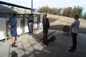 Gary shows some local winemakers and I through the 2013 vintage