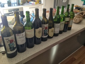The line up of wine