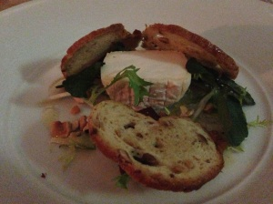 Final course: Cabechou style goat's cheese w. quince marmalade + hazelnut toast.