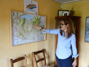 Lucia Barzanò from Il Mosnel shows me the map of Franciacorta in Lombardia, Italy.